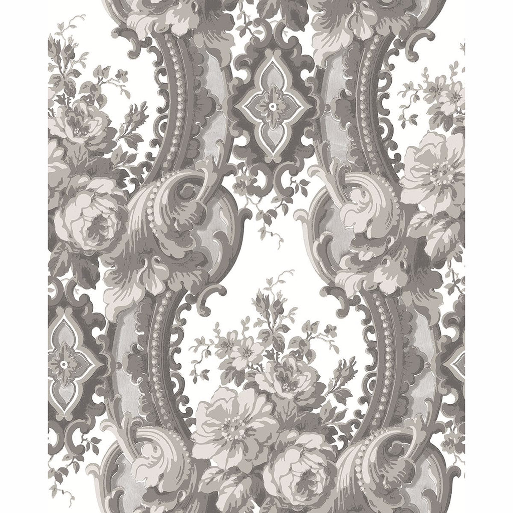 Sample Dreamer Damask Wallpaper in Grey from the Moonlight Collection by Brewster Home Fashions
