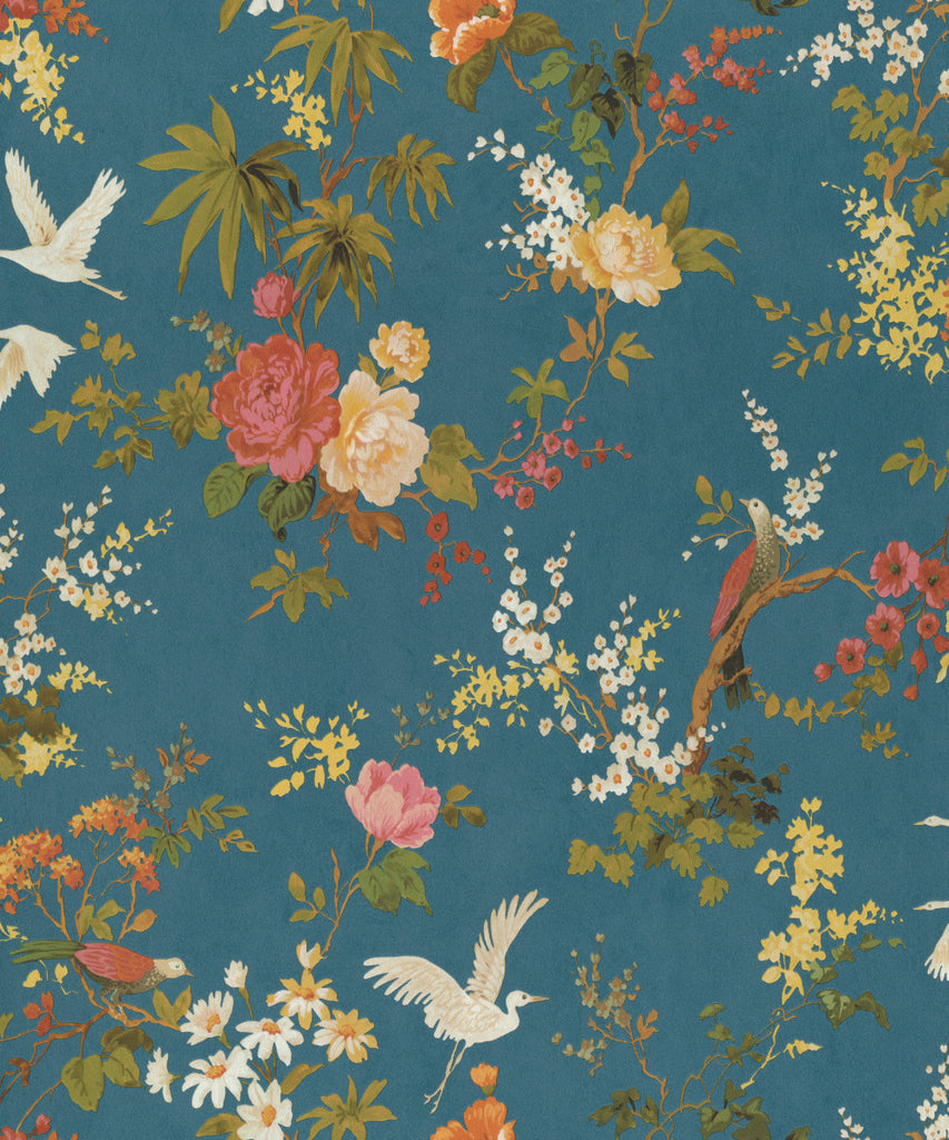 Dreamy Vintage Birds & Floral Wallpaper in Blue by Walls Republic
