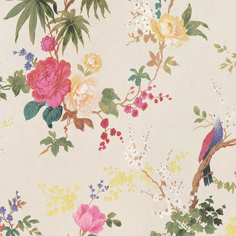 Sample Dreamy Vintage Birds & Floral Wallpaper in Cream by Walls Republic