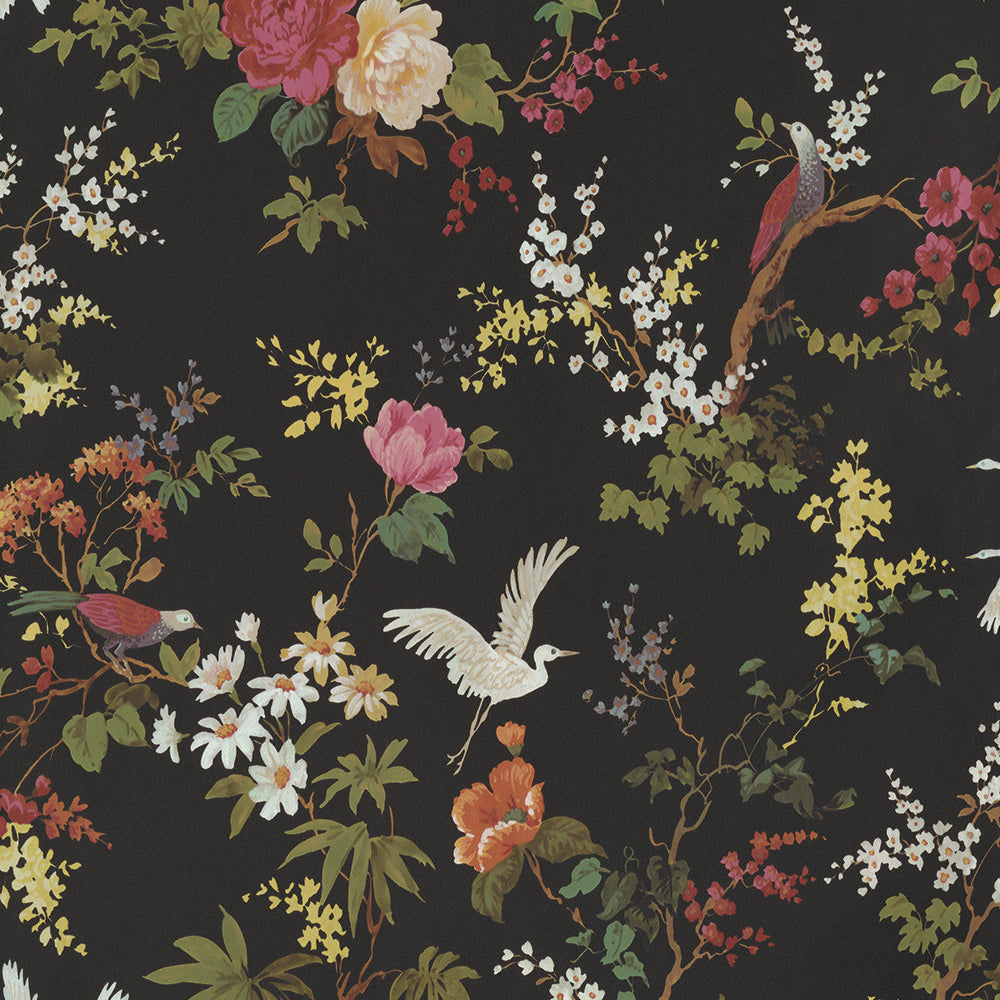 Sample Dreamy Vintage Birds and Floral Wallpaper in Black by Walls Republic
