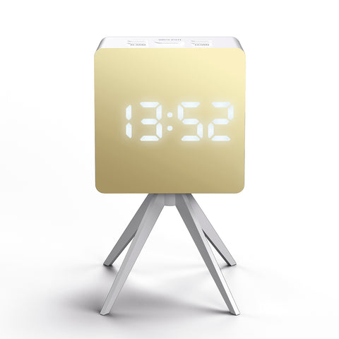 Droid Alarm Clock in White and Gold