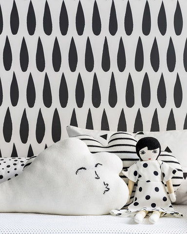 Drops Wallpaper in Charcoal by Marley + Malek Kids
