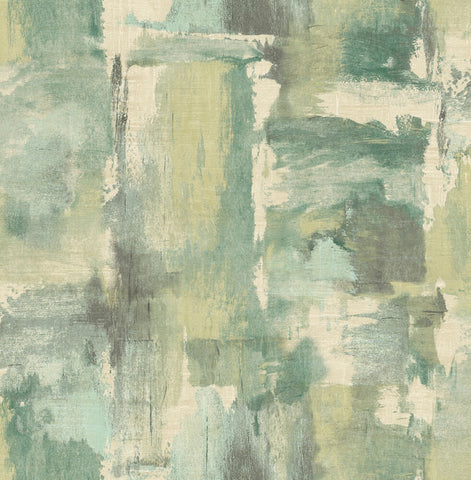 Dry Brush Faux Wallpaper in Everglades and Moss Green from the Living With Art Collection by Seabrook Wallcoverings