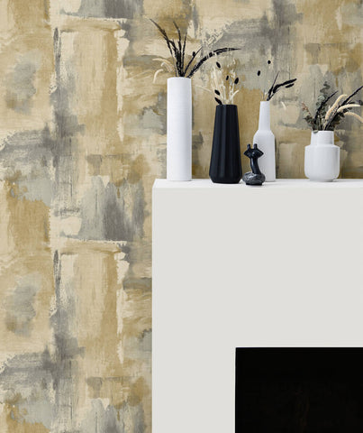 Dry Brush Faux Wallpaper in Golden Dusk from the Living With Art Collection by Seabrook Wallcoverings