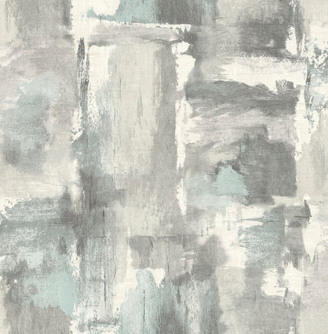 Dry Brush Faux Wallpaper in Snowy Mountain from the Living With Art Collection by Seabrook Wallcoverings