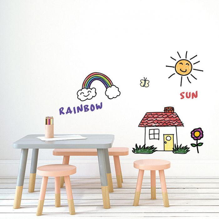 Dry Erase Self-Adhesive Wallpaper in White design by Tempaper