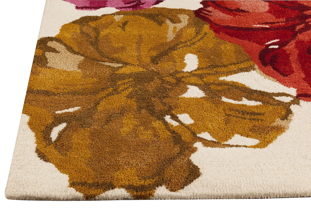 Dublin Floral Collection Wool and Viscose Area Rug in Spring design by Mat the Basics