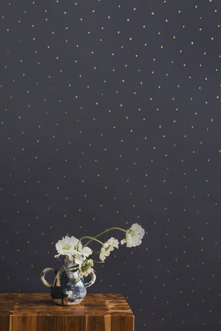 Dusk Wallpaper in Gold on Charcoal design by Juju
