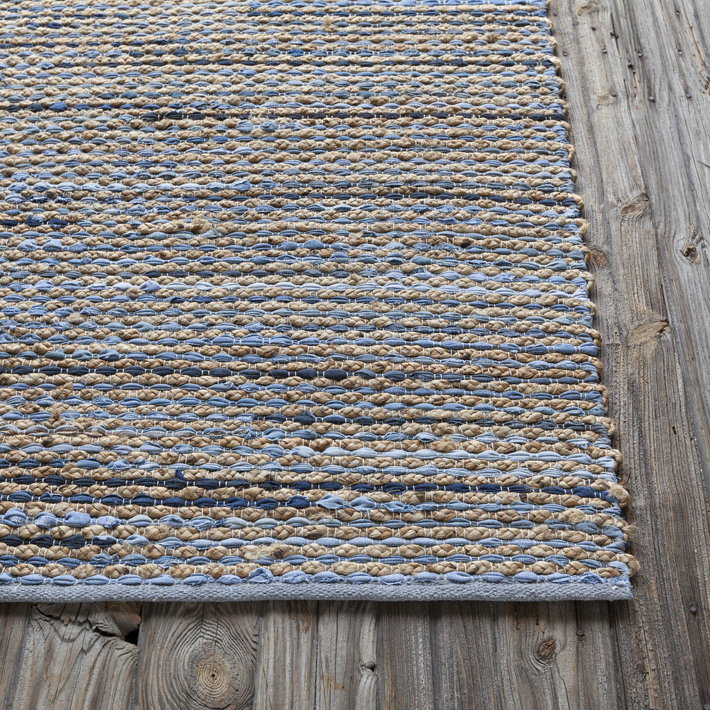 Easton Collection Hand-Woven Area Rug in Blue, Tan, & Grey design by Chandra rugs