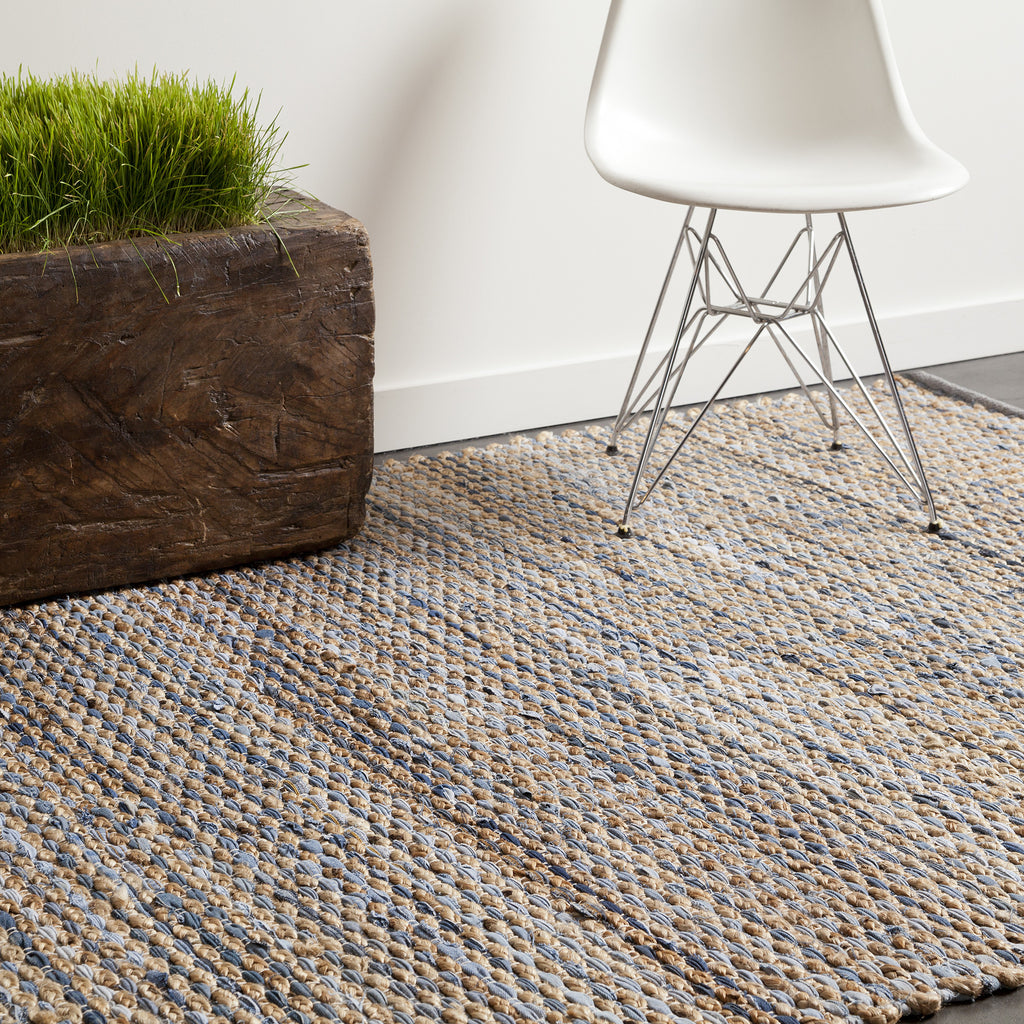 Easton Collection Hand Woven Area Rug In Blue Tan Amp Grey