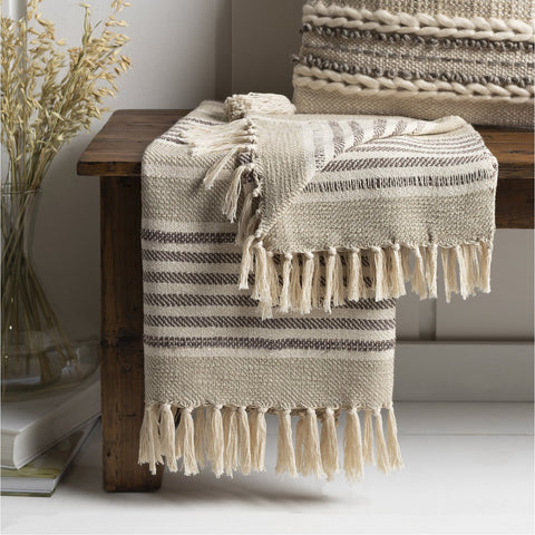 Beau EAU-1000 Knitted Throw in Khaki & Medium Gray by Surya