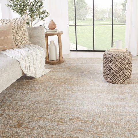 Evanthe Abstract Rug in Gold & Ivory by Jaipur Living