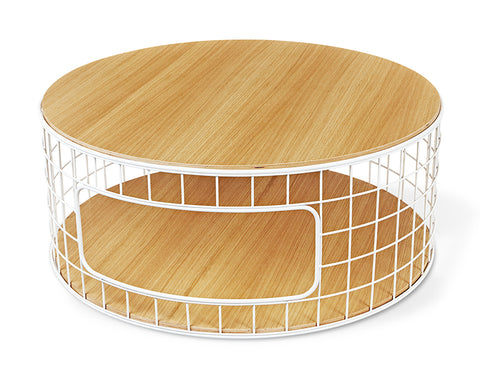 Wireframe Coffee Table In White U0026 Natural Oak Design By Gus Modern ...