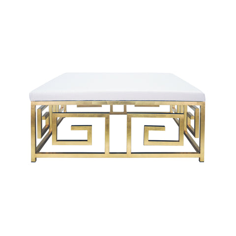 GreeK Key Square Ottoman with Gold Leaf Base