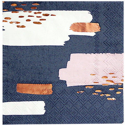 Set of 20 Erika Navy Abstract Cocktail Napkins design by Harlow & Grey