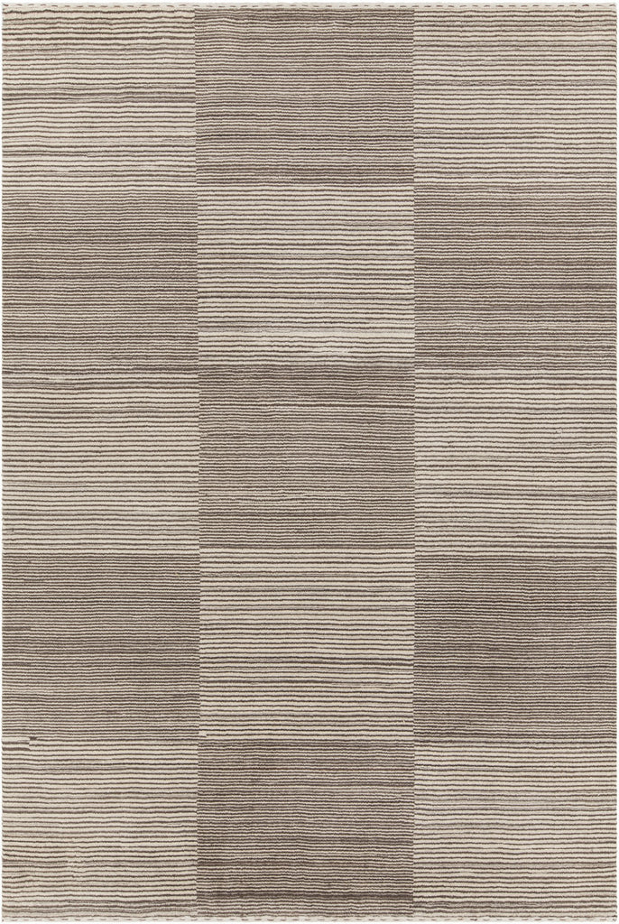 Elantra Collection Hand-Knotted Area Rug in Brown & Beige