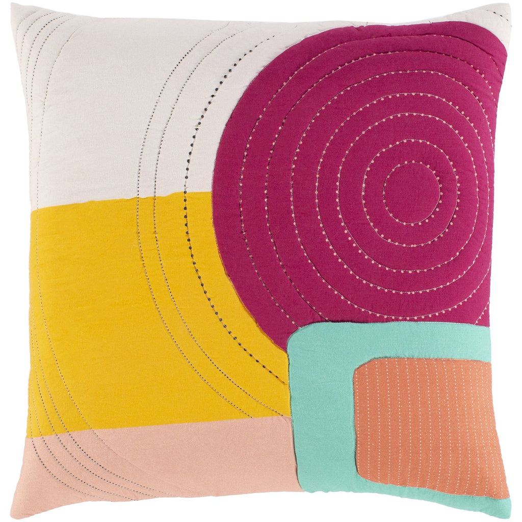Ellie ELL-002 Woven Pillow in Peach & Bright Pink by Surya