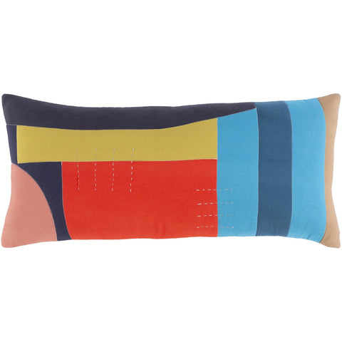 Ellie ELL-003 Woven Lumbar Pillow in Multi-Color by Surya