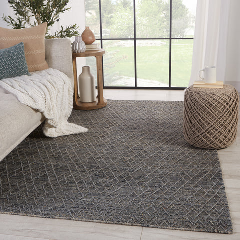 Morse Natural Geometric Grey & Dark Blue Rug by Jaipur Living