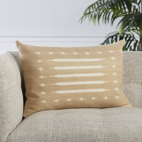 Ikenna Tribal Pillow in Taupe by Jaipur Living