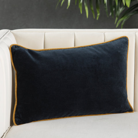 Lyla Solid Navy & Gold Pillow