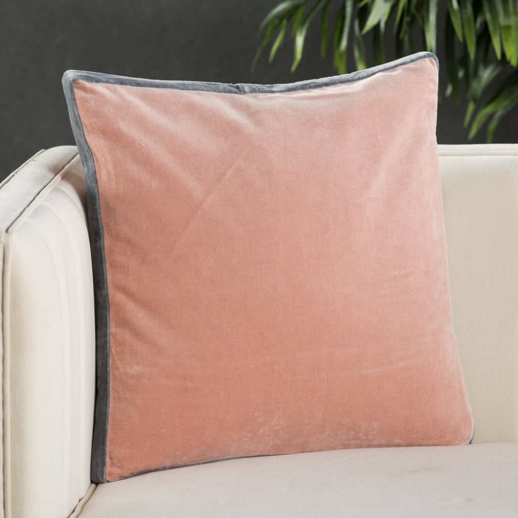 Bryn Solid Blush & Gray Pillow