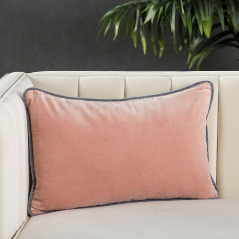 Lyla Solid Blush & Grey Pillow