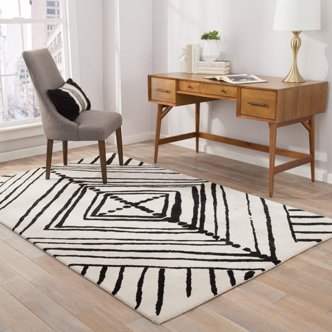 Gemma Handmade Abstract White & Black Area Rug
