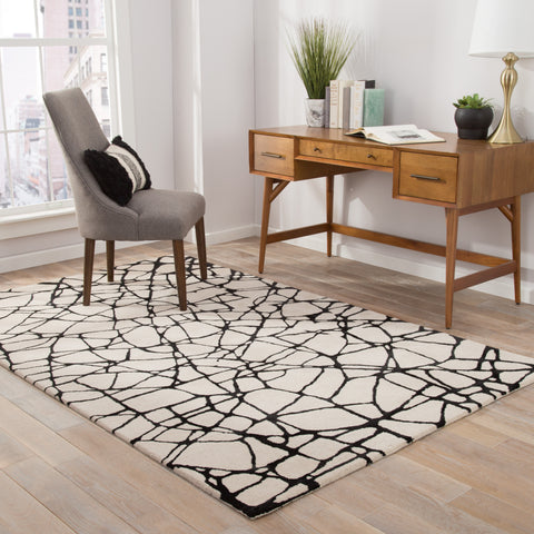Chandler Abstract Rug in Birch & Jet Black design by Nikki Chu