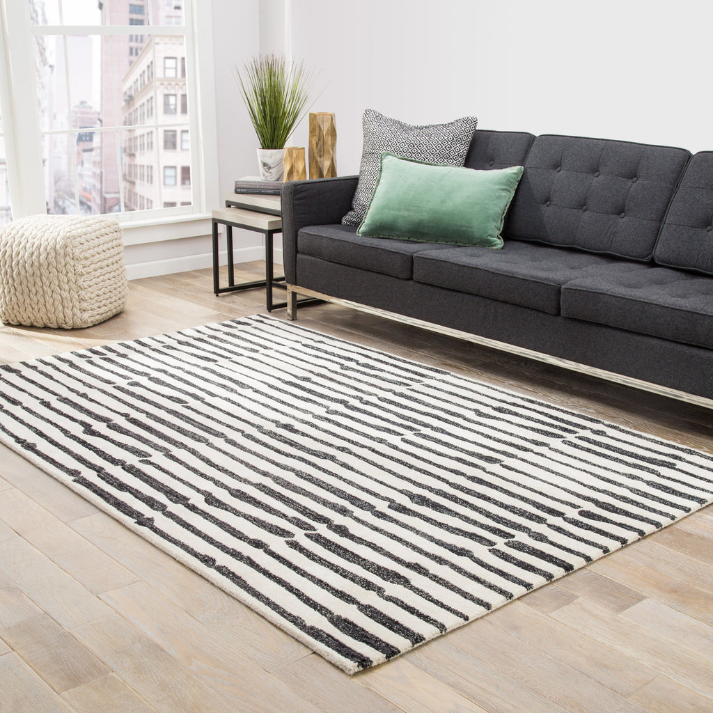 Nikkichu: Saville Abstract Rug In Fog & Peat Design By Nikki Chu