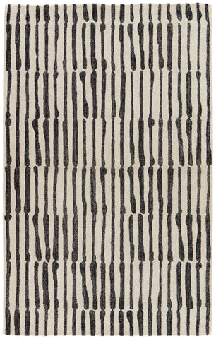 Saville Handmade Abstract White & Black Area Rug