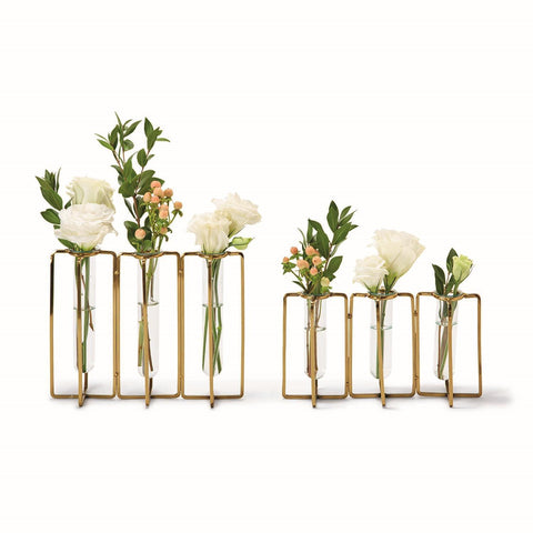 Lavoisier Set of 2 Golden Flower Vases Includes 2 Sizes