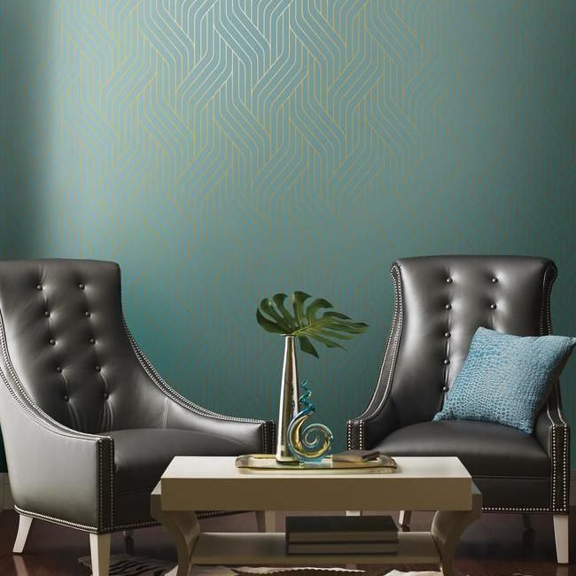 Ebb And Flow Wallpaper in Blue and Gold by Antonina Vella for York Wallcoverings