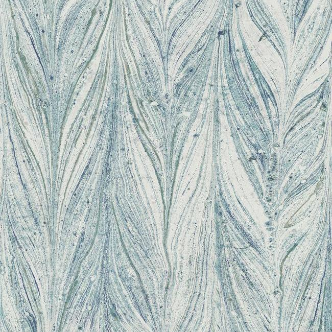 Ebru Marble Wallpaper in Bright Blue from the Natural Opalescence Collection by Antonina Vella for York Wallcoverings
