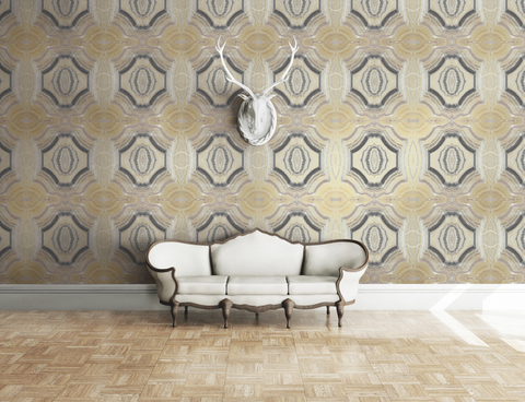 Echo Wallpaper in Black and Bronze from the Solaris Collection by Mayflower Wallpaper