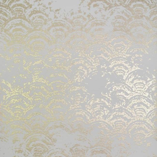 Sample Eclipse Wallpaper in White and Gold by Antonina Vella for York Wallcoverings