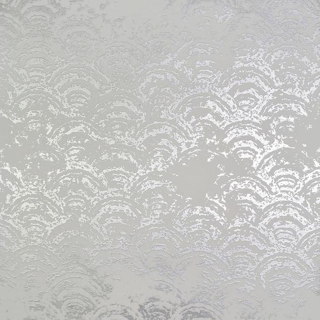 Sample Eclipse Wallpaper in White and Silver by Antonina Vella for York Wallcoverings