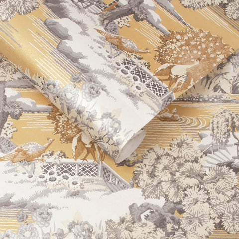Edo Toile Wallpaper in Mustard from the Exclusives Collection by Graham & Brown