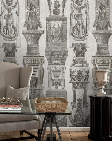 Egyptian Columns Wallpaper in Grey from the World of Antiquity Collection by Mind the Gap