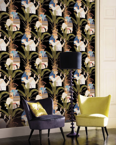 Egyptian Queens Wallpaper in Anthracite and Multi from the World of Antiquity Collection