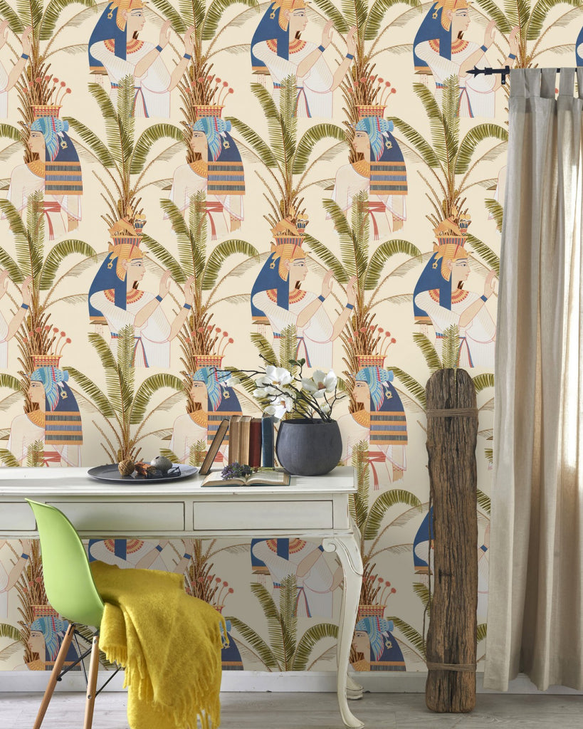 Egyptian Queens Wallpaper in Taupe and Multi from the World of Antiquity Collection by Mind the Gap