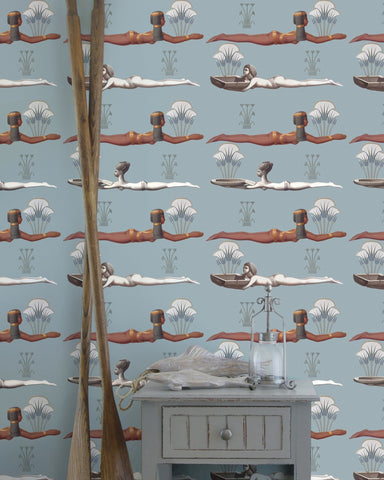Egyptum Wallpaper in Blue, Brown, and White from the World of Antiquity Collection by Mind the Gap
