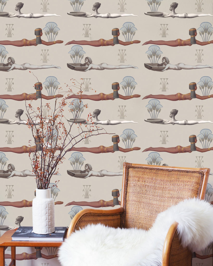 Egyptum Wallpaper in Taupe from the World of Antiquity Collection by Mind the Gap