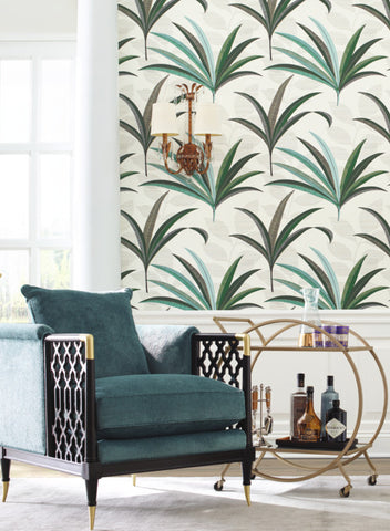 El Morocco Palm Wallpaper in Ivory and Green from the Deco Collection by Antonina Vella for York Wallcoverings