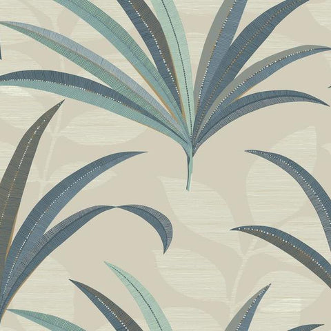 El Morocco Palm Wallpaper in Beige and Blue from the Deco Collection by Antonina Vella for York Wallcoverings