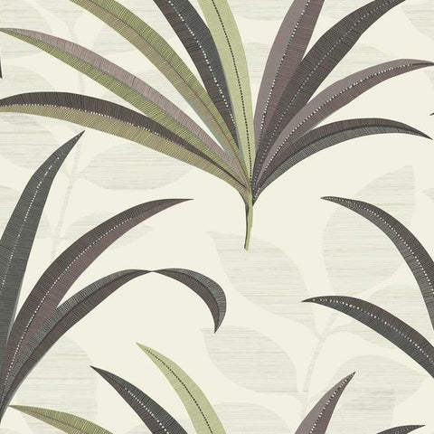 El Morocco Palm Wallpaper in Beige and Green from the Deco Collection by Antonina Vella for York Wallcoverings