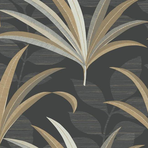 El Morocco Palm Wallpaper in Black and Yellow from the Deco Collection by Antonina Vella for York Wallcoverings
