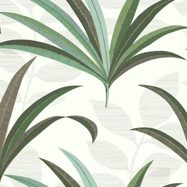 Sample El Morocco Palm Wallpaper in Ivory and Green from the Deco Collection by Antonina Vella for York Wallcoverings