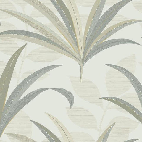 El Morocco Palm Wallpaper in Off-White and Beige from the Deco Collection by Antonina Vella for York Wallcoverings