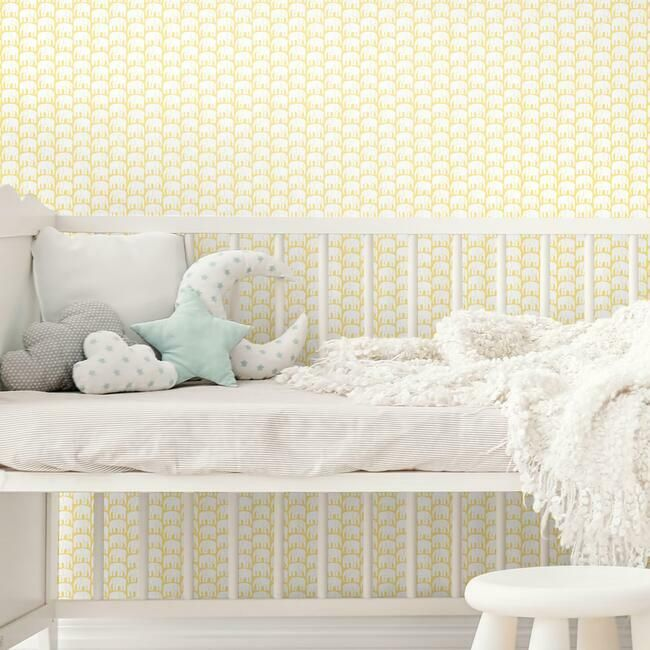 Elefantti Peel Stick Wallpaper In Yellow By Roommates For York Wallc Burke Decor
